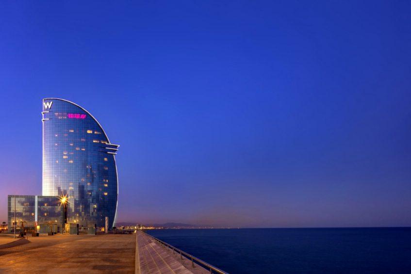 W Barcelona Luxury Hotel - Barcelona, Spain - Exterior Night