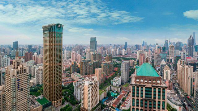 The St. Regis Shanghai Jingan Luxury Hotel - Shanghai, China - Hotel Exterior Aerial City View