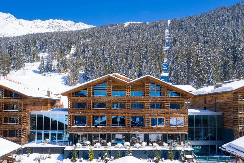 W Verbier Luxury Hotel - Verbier, Switzerland - Exterior Winter Tree View