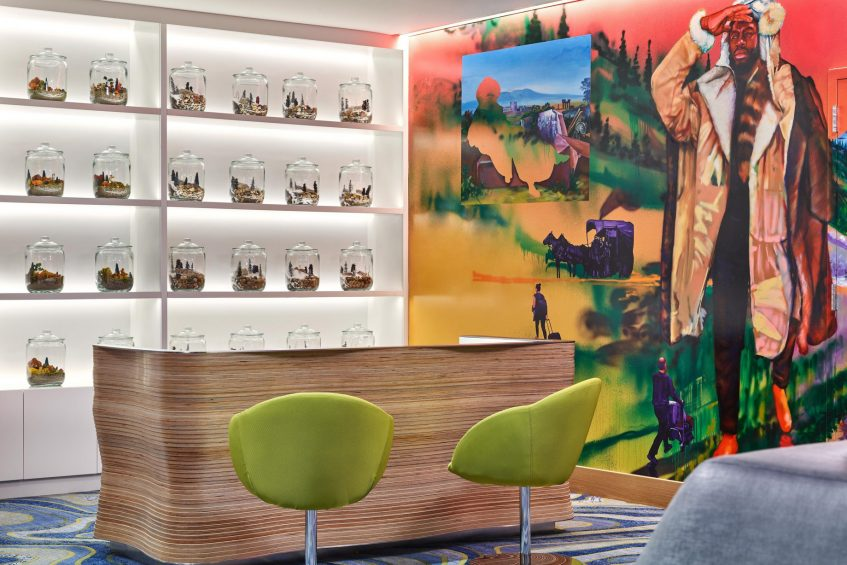 W Aspen Luxury Hotel - Aspen, CO, USA - Lobby Welcome Desk Decor