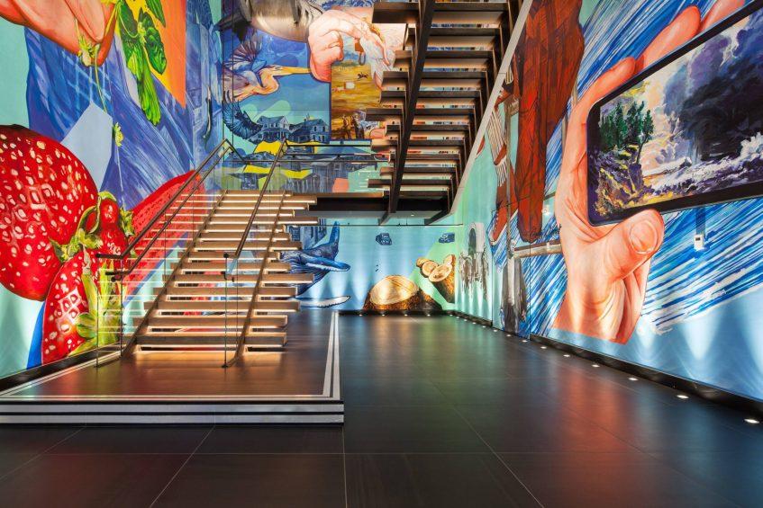 W Bellevue Luxury Hotel - Bellevue, WA, USA - Stairs Art Mural