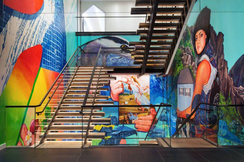 W Bellevue Luxury Hotel - Bellevue, WA, USA - Staircase Art Mural