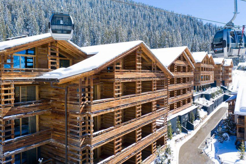 W Verbier Luxury Hotel - Verbier, Switzerland - Exterior Winter Gondola View