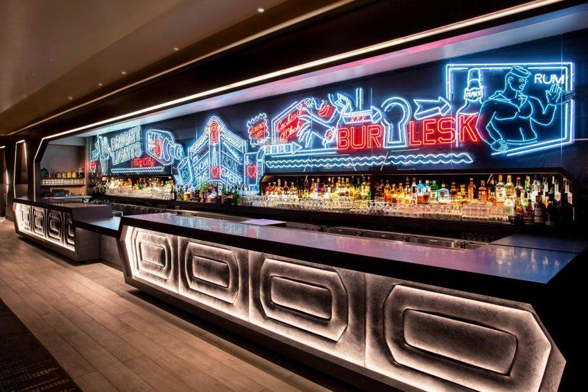 W New York Times Square Luxury Hotel - New York, NY, USA - Living Room Bar Neon