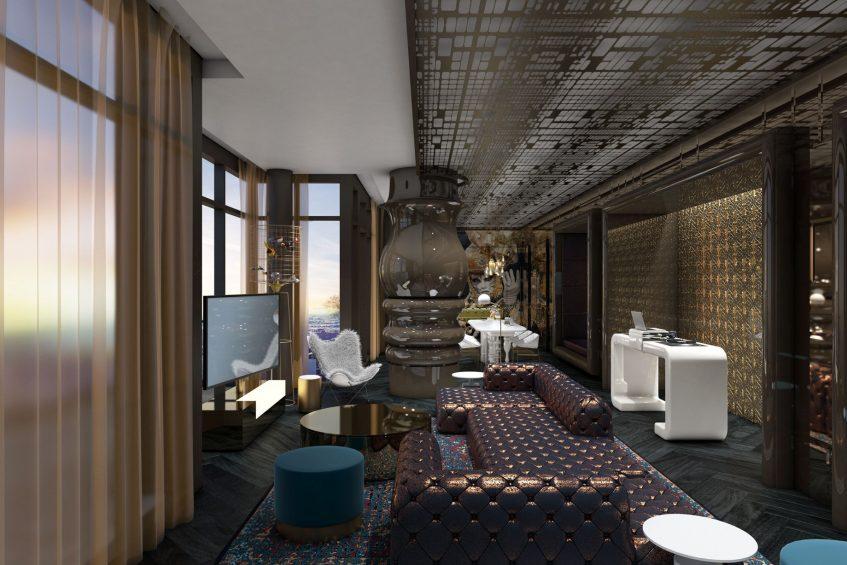 W Philadelphia Luxury Hotel - Philadelphia, PA, USA - E WOW Suite Seating