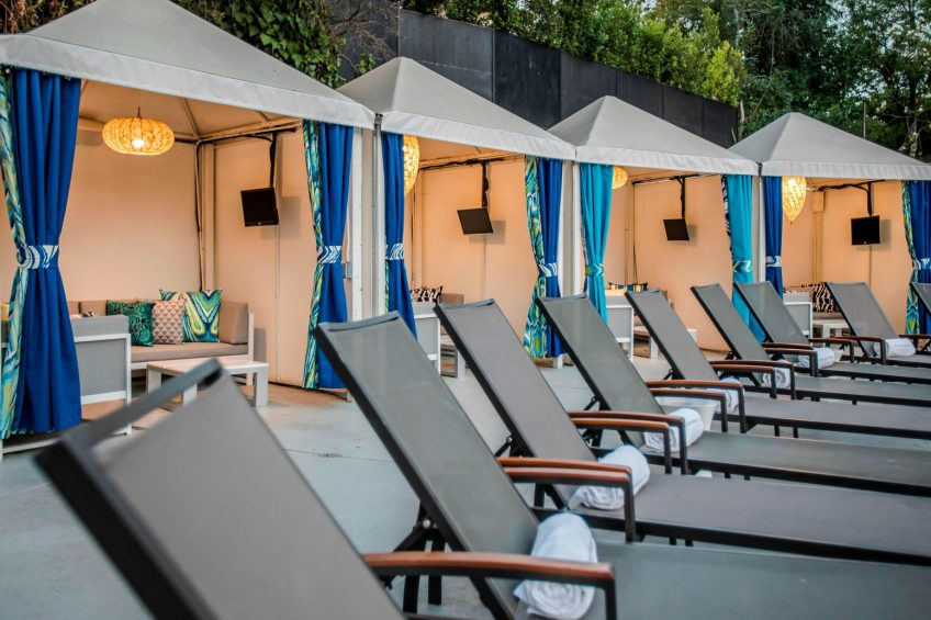 W Los Angeles West Beverly Hills Luxury Hotel - Los Angeles, CA, USA - WET Deck Outdoor Cabanas