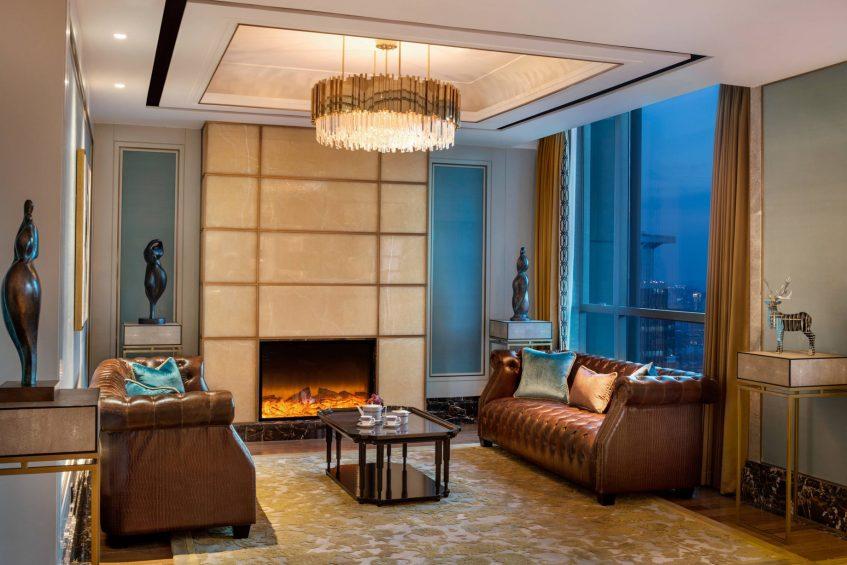 The St. Regis Shanghai Jingan Luxury Hotel - Shanghai, China - The Club Fireplace