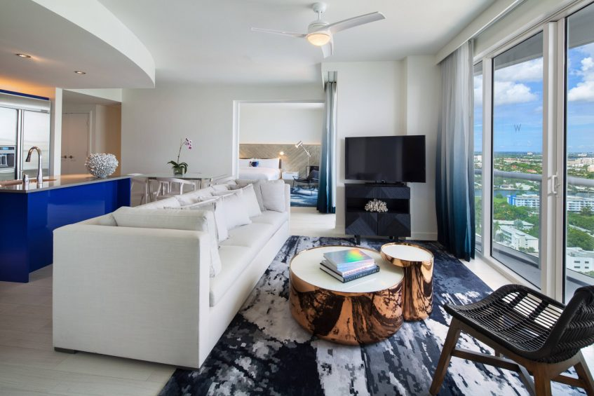 W Fort Lauderdale Luxury Hotel - Fort Lauderdale, FL, USA - Cool Ocean View Residential Suite Living Area