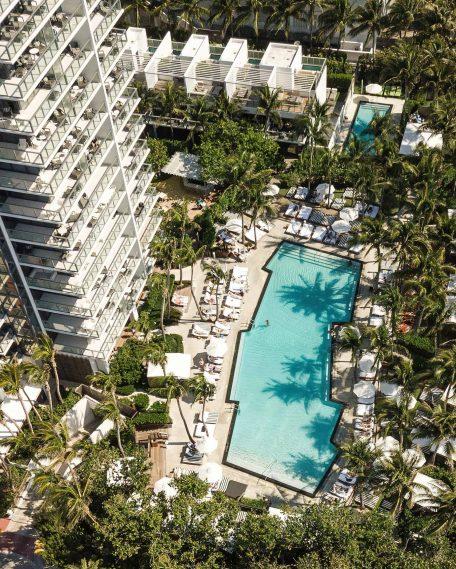W South Beach Luxury Hotel - Miami Beach, FL, USA - Pool Overhead Aerial View