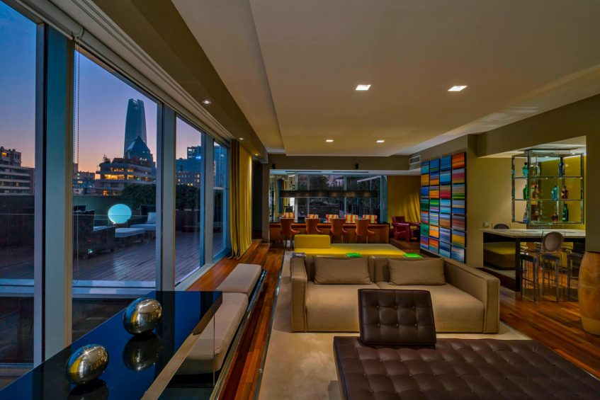 W Santiago Luxury Hotel - Santiago, Chile - Extreme Wow Suite Living Room and Terrace