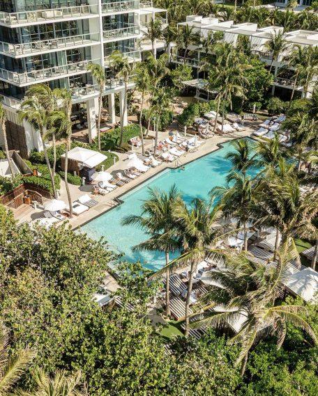 W South Beach Luxury Hotel - Miami Beach, FL, USA - Poolside Aerial Palm Trees