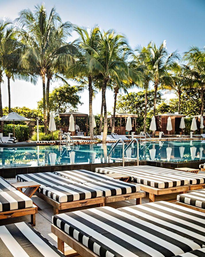 W South Beach Luxury Hotel - Miami Beach, FL, USA - Poolside Stripes