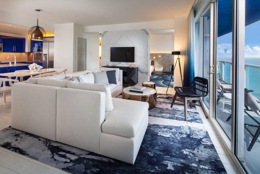 W Fort Lauderdale Luxury Hotel - Fort Lauderdale, FL, USA - Marvelous Ocean View Residential Suite Living Area