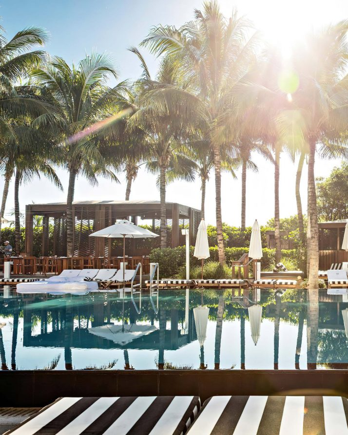 W South Beach Luxury Hotel - Miami Beach, FL, USA - Poolside Cabana Palm Trees