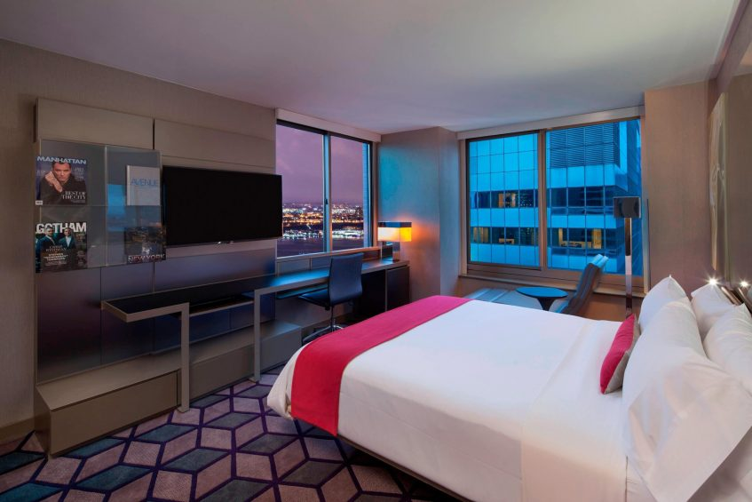 W New York Times Square Luxury Hotel - New York, NY, USA - Cool Corner Hudson View Guest Room