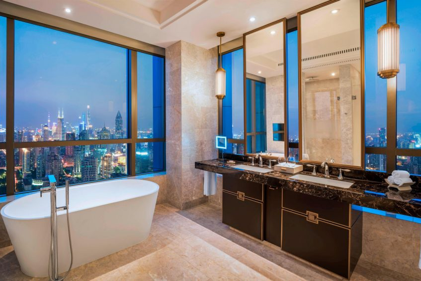 The St. Regis Shanghai Jingan Luxury Hotel - Shanghai, China - Premier Corner Deluxe Room Guest Bathroom