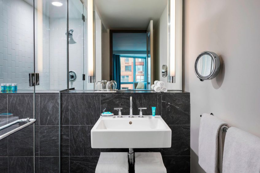 W Hoboken Luxury Hotel - Hoboken, NJ, USA - Guest Bathroom Shower