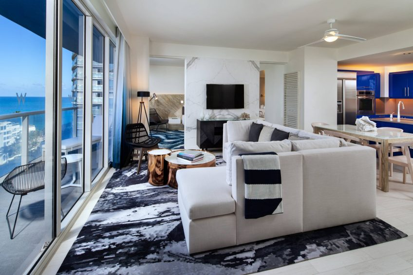 W Fort Lauderdale Luxury Hotel - Fort Lauderdale, FL, USA - Residential Suite Living Area View