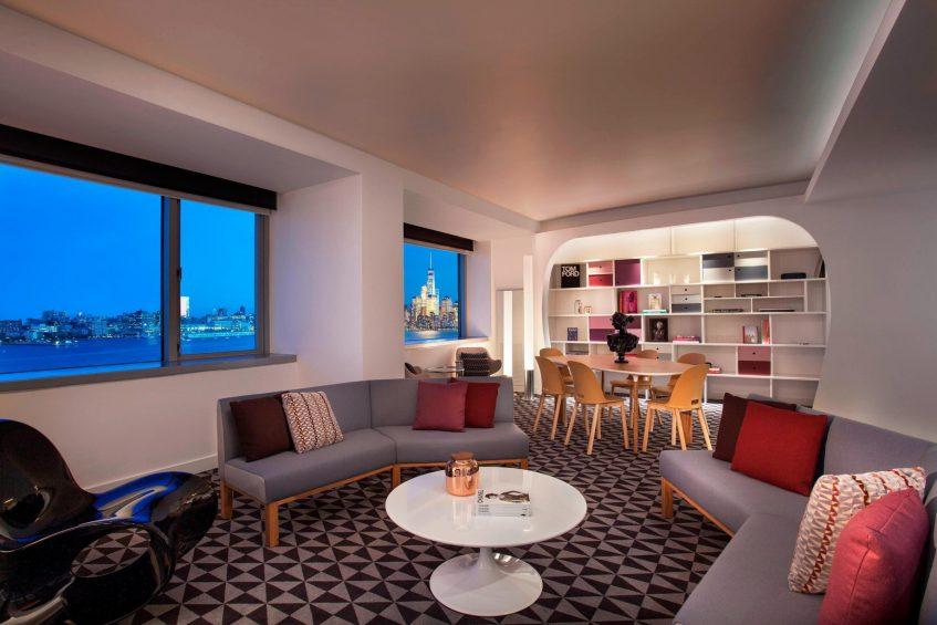 W Hoboken Luxury Hotel - Hoboken, NJ, USA - E WOW Suite Living Area