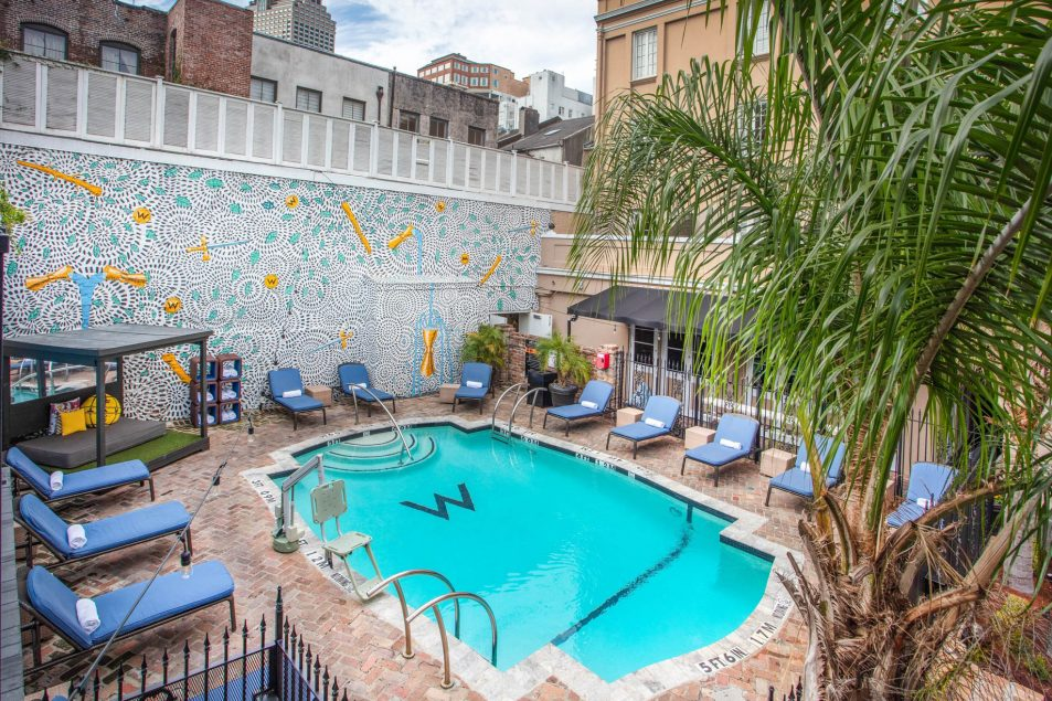 W New Orleans French Quarter Luxury Hotel - New Orleans, LA, USA - WET Deck Courtyard Pool View