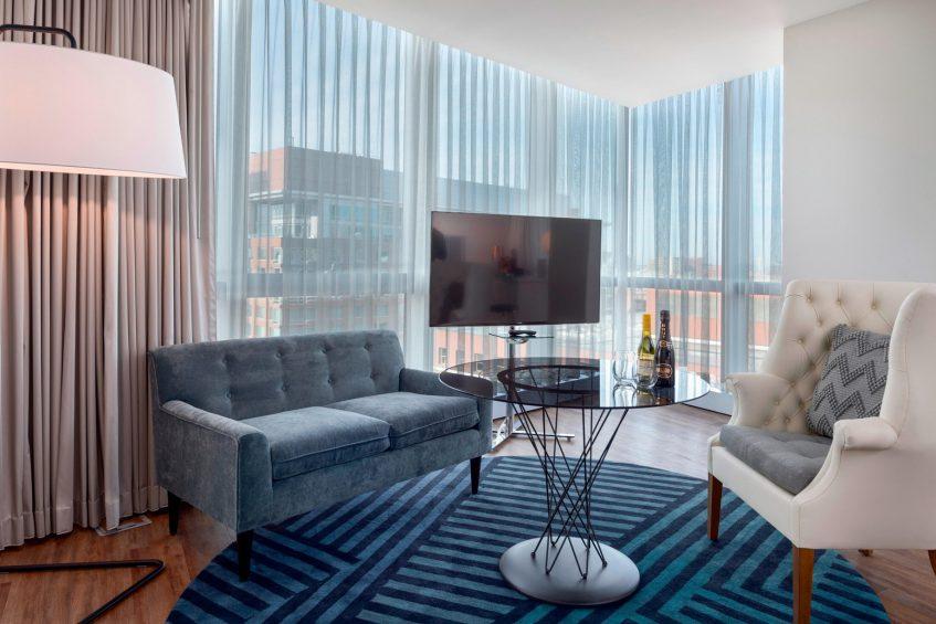 W Boston Luxury Hotel - Boston, MA, USA - Cool Corner Guest Room Living Area