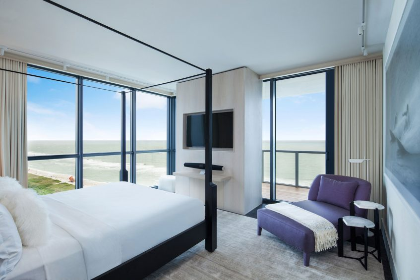 W South Beach Luxury Hotel - Miami Beach, FL, USA - E WOW 3 Bedroom Oceanfront Suite Bed