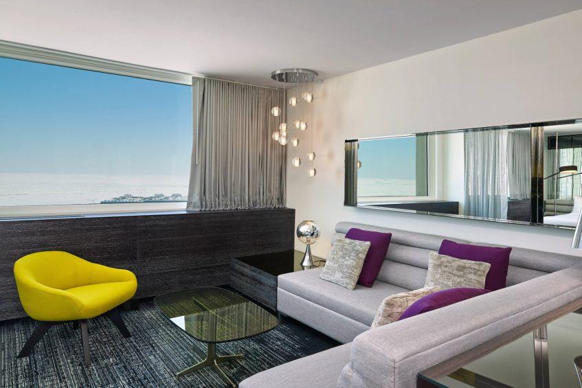 W Chicago Lakeshore Luxury Hotel - Chicago, IL, USA - Marvelous Suite Living Area Decor