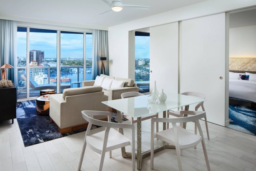W Fort Lauderdale Luxury Hotel - Fort Lauderdale, FL, USA - Residential Suites Living Area