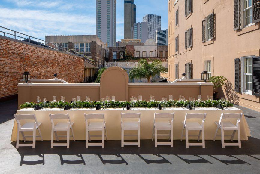 W New Orleans French Quarter Luxury Hotel - New Orleans, LA, USA - Sundeck Dinner Set Up