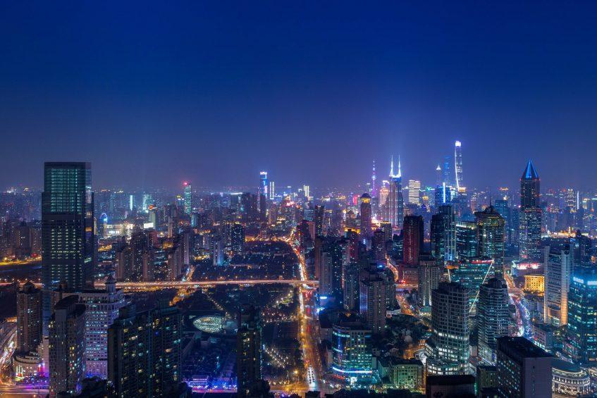 The St. Regis Shanghai Jingan Luxury Hotel - Shanghai, China - City Twilight Views