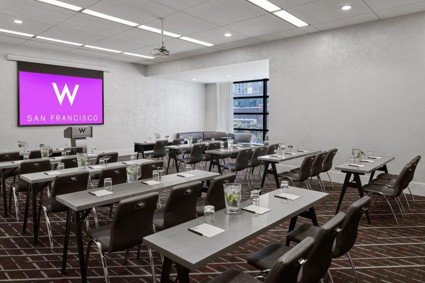 W San Francisco Luxury Hotel - San Francisco, CA, USA - Workroom 3 Class Room Setup