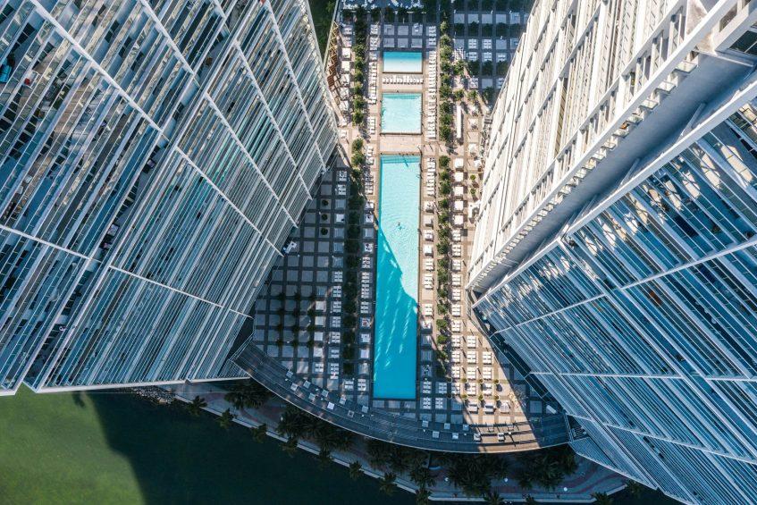 W Miami Luxury Hotel - Miami, FL, USA - WET Deck Pool Overhead View