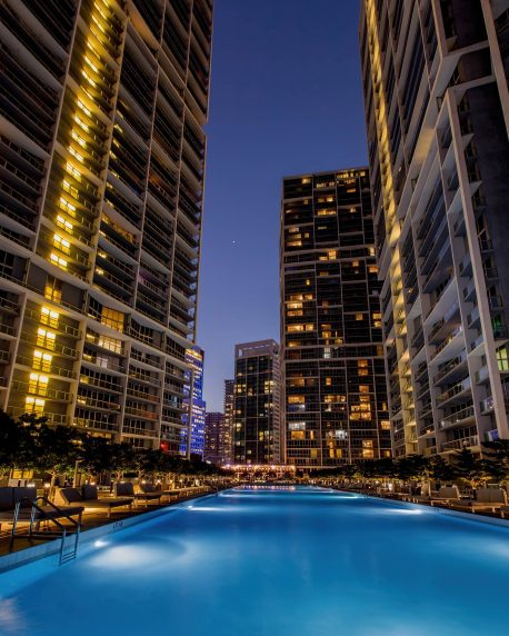 W Miami Luxury Hotel - Miami, FL, USA - Pool Night