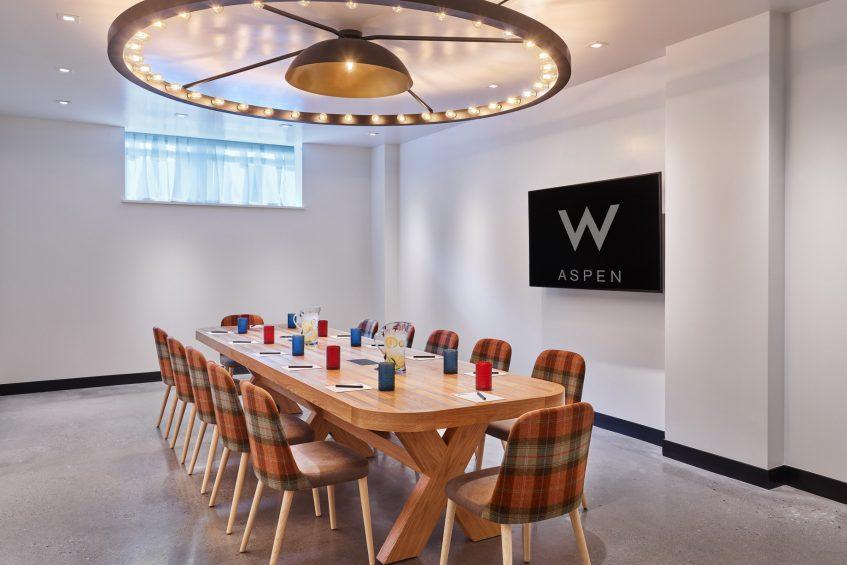 W Aspen Luxury Hotel - Aspen, CO, USA - Strategy Meeting Room Boardroom Setup