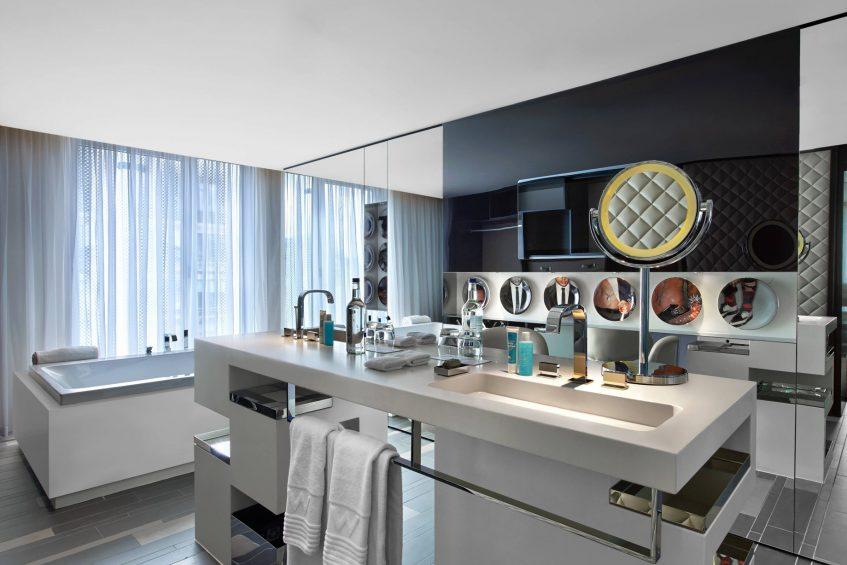 W London Luxury Hotel - London, United Kingdom - Suite Bathroom Vanity and Tub