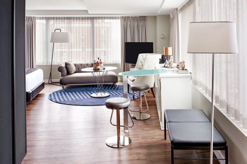 W Boston Luxury Hotel - Boston, MA, USA - Mega Guest Room Living Area
