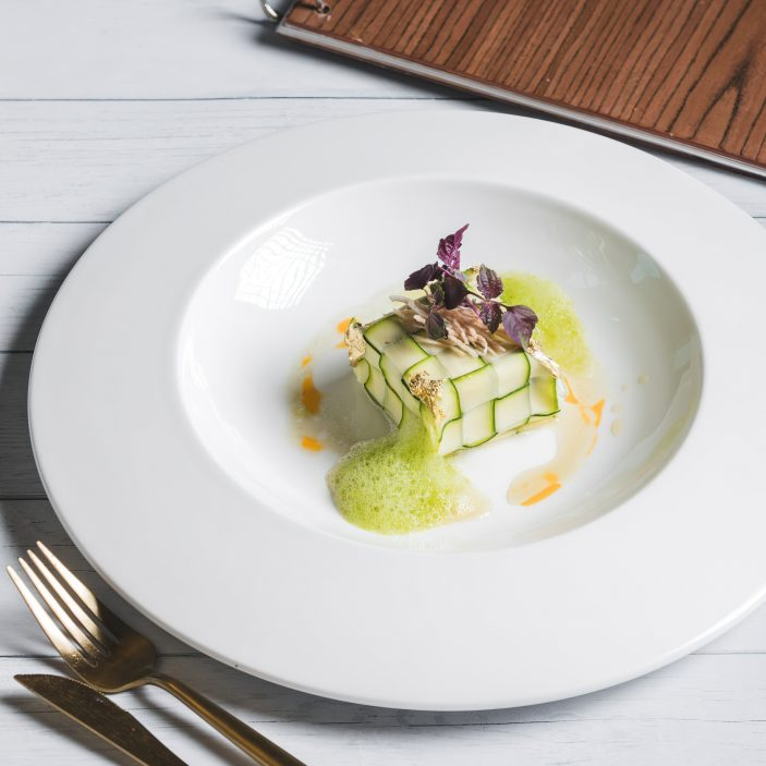 The St. Regis Mumbai Luxury Hotel - Mumbai, India - Steamed Zucchini Stuffed with Silken Tofu and Vegetables