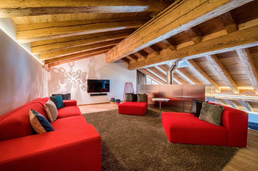 W Verbier Luxury Hotel - Verbier, Switzerland - E WOW Suite Mezzanine Sitting Area