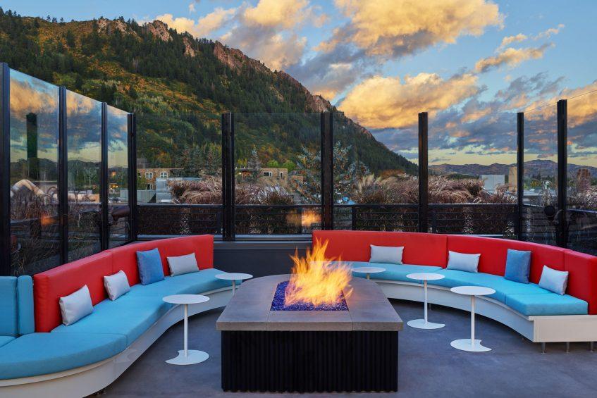 W Aspen Luxury Hotel - Aspen, CO, USA - WET Deck Lounge Fireplace Seating