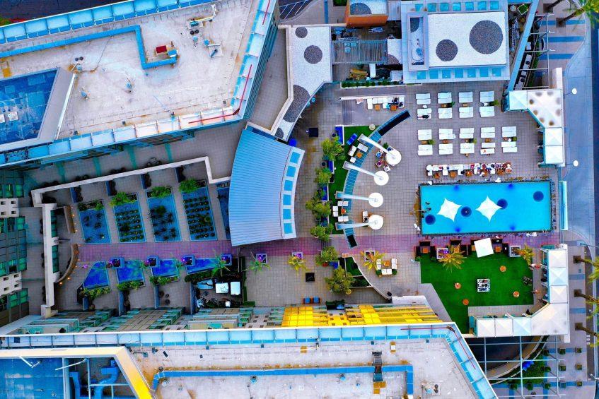W Scottsdale Luxury Hotel - Scottsdale, AZ, USA - Hotel Pool Overhead Aerial
