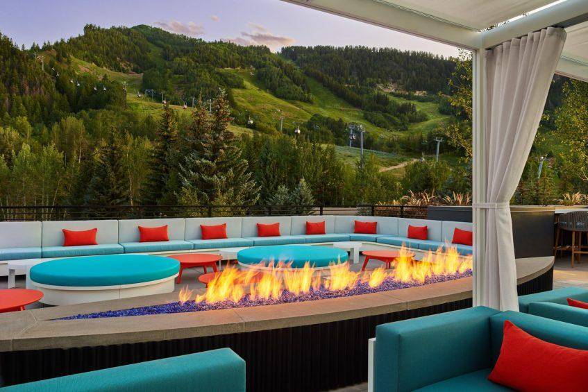 W Aspen Luxury Hotel - Aspen, CO, USA - WET Deck Cabanas Fire Pit