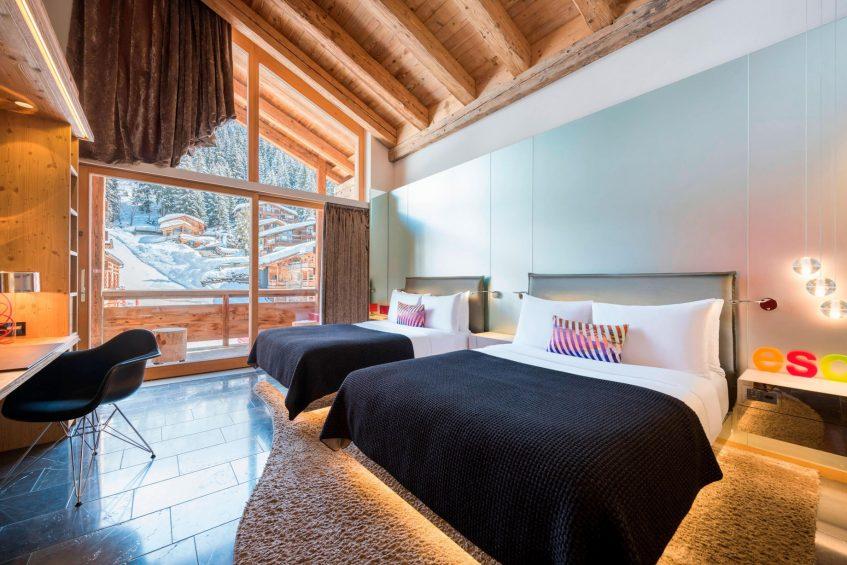 W Verbier Luxury Hotel - Verbier, Switzerland - Fabulous Twin Room Beds