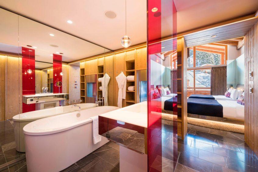W Verbier Luxury Hotel - Verbier, Switzerland - Fabulous Twin Room Tub