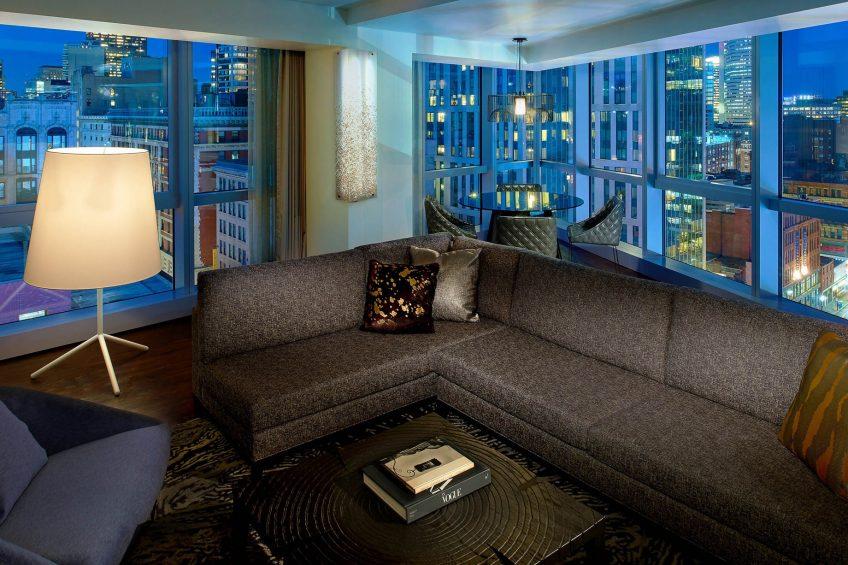 W Boston Luxury Hotel - Boston, MA, USA - WOW Suite Living Area