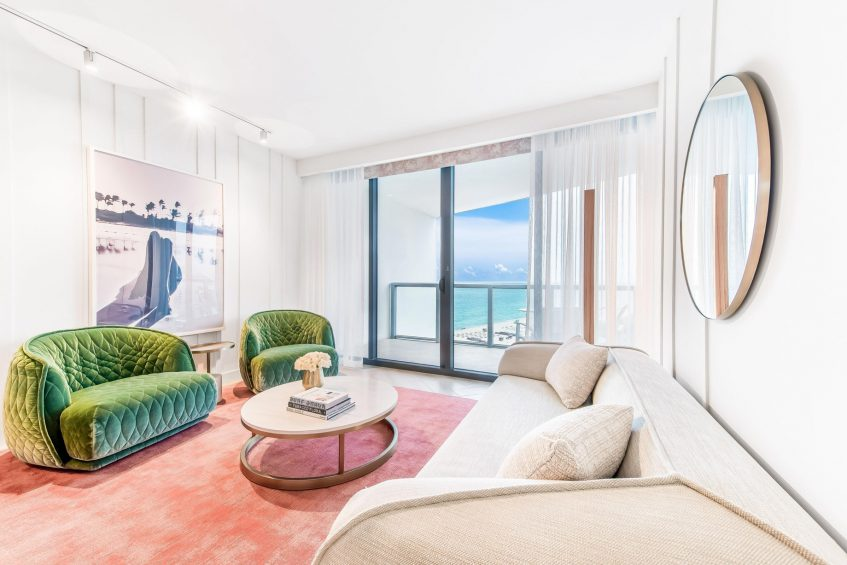 W South Beach Luxury Hotel - Miami Beach, FL, USA - Spectacular and Wonderful Suite Living Area