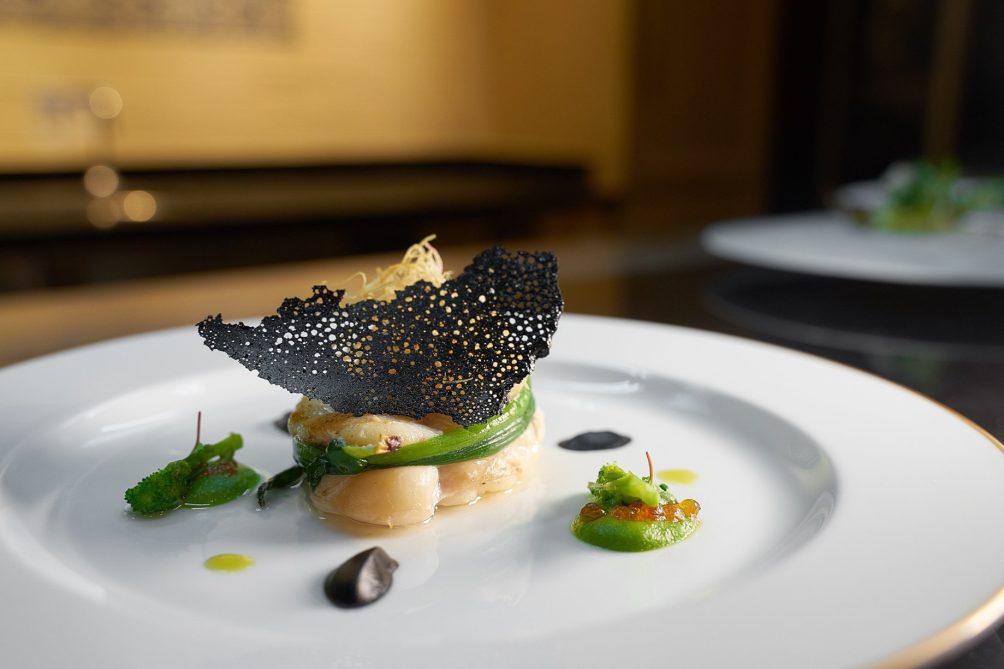 The St. Regis Macao Luxury Hotel - Cotai, Macau SAR, China - Monkfish with Yarra Valley Smoked Salmon Pearls Broccoli Rabe and Crispy Leek