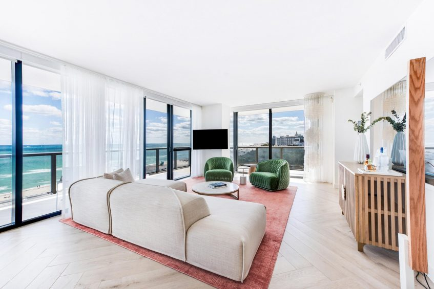 W South Beach Luxury Hotel - Miami Beach, FL, USA - WOW Oceanfront Two Bedroom Suite Living Area