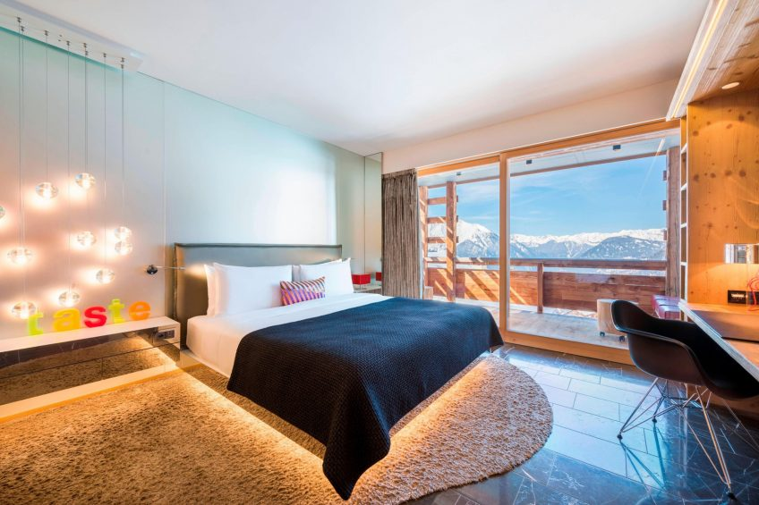 W Verbier Luxury Hotel - Verbier, Switzerland - Spectacular Bedroom Mountain View