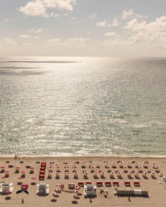 W South Beach Luxury Hotel - Miami Beach, FL, USA - Beach Aerial Sunset