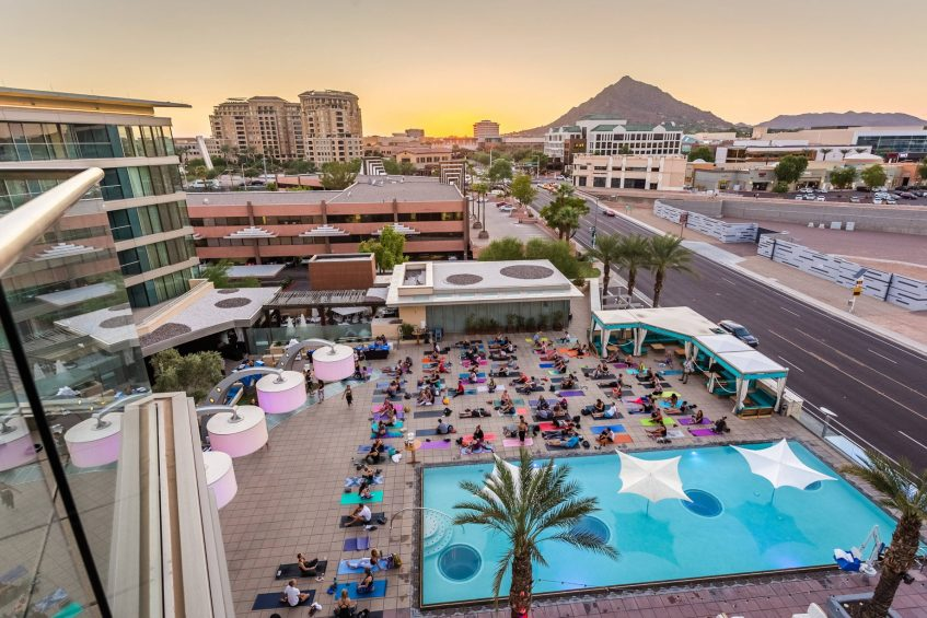W Scottsdale Luxury Hotel - Scottsdale, AZ, USA - Yoga at WET Deck